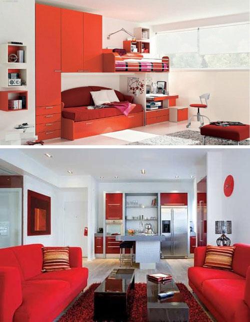 Интерьер с алым и красным