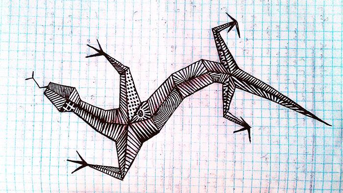 ящерица рисованная гелевой ручкой