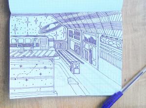 рисунок интерьера космического корабля гелевой ручкой